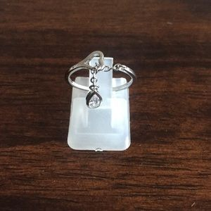 Sterling silver heart band with chain cz drop ring